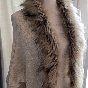 Unbranded Shrug Cardigan Sweater Faux Fur Collar